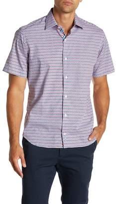 Tailorbyrd Short Sleeve Print Trim Fit Dress Shirt