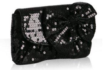Felix Rey black sequin 'Melody' bow clutch