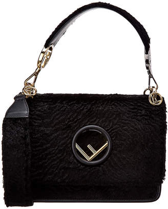 Fendi Kan I Velvet & Leather Shoulder Bag