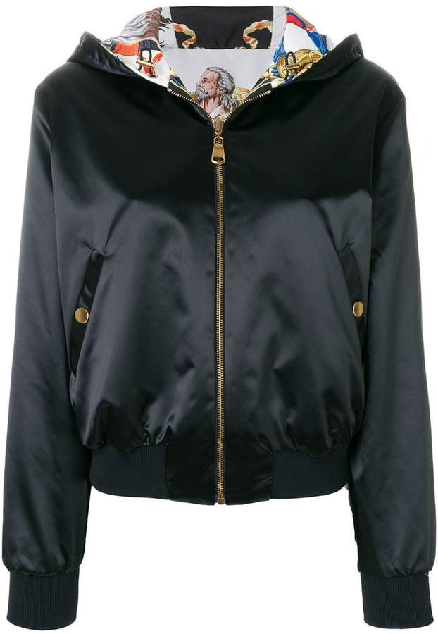 reversible baroque hooded bomber jacket