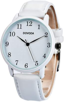 DOVODA Black Watches for Men Stylish Elegant Quartz Analog Easy Reader Watch with White Number Time Markers and Black Dial Leather Strap for Everyday Wear