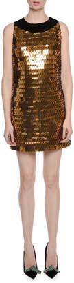 Sleeveless Open-Back Large-Paillette Cocktail Dress with Velvet Trim