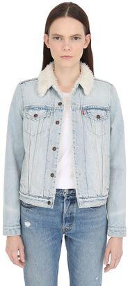 Faux Shearling & Cotton Denim Jacket $157 thestylecure.com