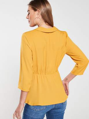 fcbea10bb35609 Very Buckle Front Soft Collared Blouse- Mustard