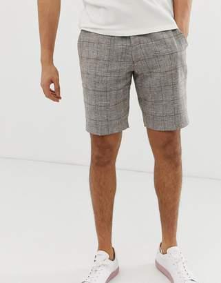 Asos Design DESIGN slim smart shorts in brown linen prince of wales check