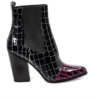 Kenzo Textured leather two tone ankle boots