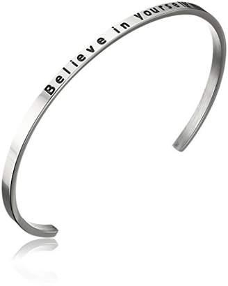 ELYA Jewelry Womens Stainless Steel Believe in Yourself Message Cuff Bracelet