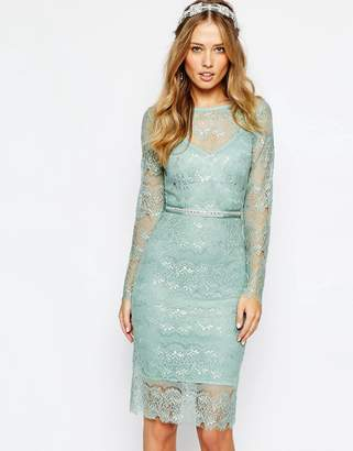 Body Frock Wedding Primrose Embellished Waist Dress in Mint