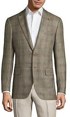 Isaia Men's Giacca Wool Plaid Jacket