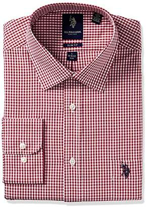 U.S. Polo Assn. Men's Plaid Or Check Slim Fit Semi Spread Collar Dress Shirt
