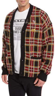 Ovadia & Sons Men's Plaid Wool Cardigan