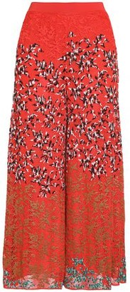 Missoni Embroidered Crochet-Knit Wide-Leg Pants