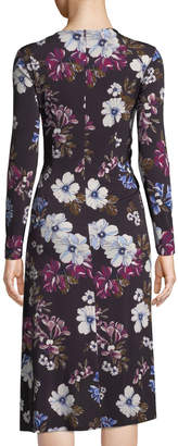 Donna Morgan Floral Print Ruched Jersey Sheath Dress