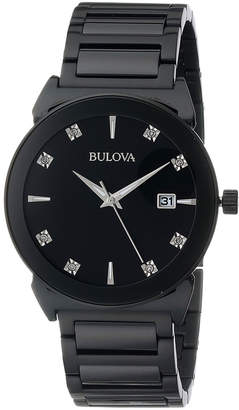 Bulova 41mm Men's Stainless Steel Bracelet Watch w/ Diamonds, Black