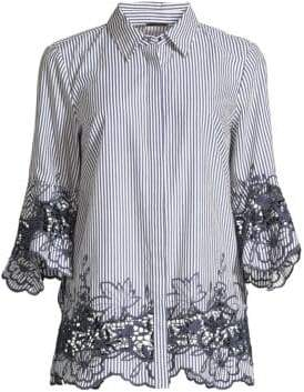 Elie Tahari Clark Embroidered Striped Shirt