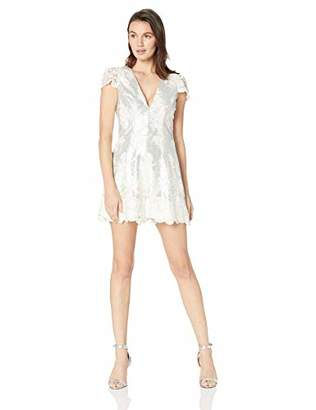 Dress the Population Women's Sabrina Sequin Lace Romper
