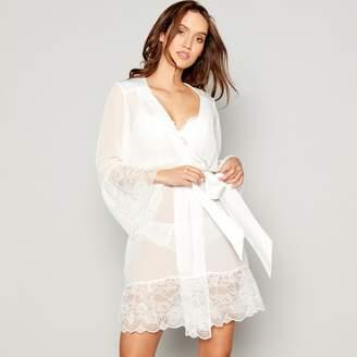 Lipsy - Ivory Chiffon Lace 'Aria' Dressing Gown