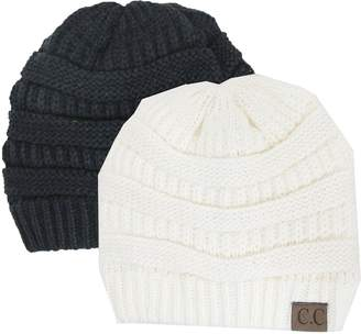 Luxury Divas Charcoal Grey Thick Slouchy Knit Oversized Beanie Cap Hat 40b559bb85ff