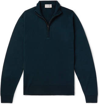 John Smedley Tapton Slim-fit Merino Wool Half-zip Sweater - Green