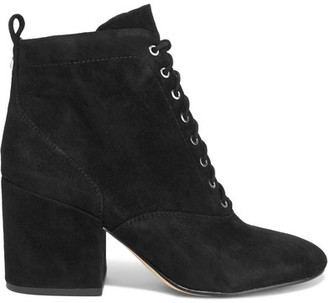 Sam Edelman - Tate Lace-up Suede Ankle Boots - Black $170 thestylecure.com