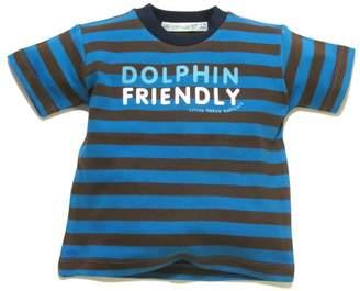 Little Green Radicals organic Fairtrade cotton Dolphin Friendly T-shirt (Blue & Brown Stripes, 2-3 Years)