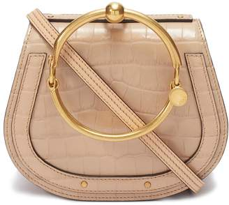 Chloé 'Nile' small bracelet handle croc embossed leather crossbody bag