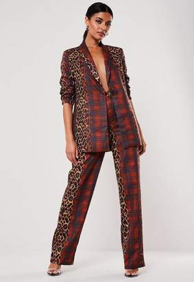 Missguided Red Co Ord Leopard Plaid Print Cigarette Pants