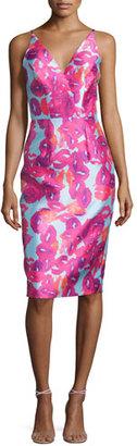 Monique Lhuillier Sleeveless Kiss-Print Sheath Dress $450 thestylecure.com