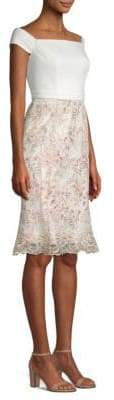 Laundry by Shelli Segal Crepe Embroidered Corded Mesh Flounce Dress