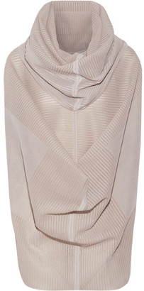 Rick Owens - Draped Ribbed Silk-blend Top - Mushroom $1,305 thestylecure.com