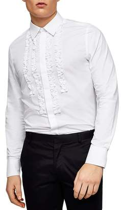 Topman Slim Fit Ruffle Dress Shirt