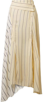 3.1 Phillip Lim Asymmetric Striped Twill And Satin Midi Skirt - Cream