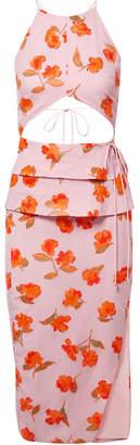 Altuzarra Julietta Cutout Fil Coupé Chiffon Midi Dress - Baby pink