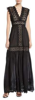 Aijek V-Neck Cotton Eyelet Maxi Dress