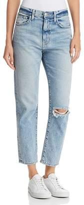 Current/Elliott The Vintage Cropped Slim Boyfriend Jeans in 2 Year Destroy Rigid Indigo