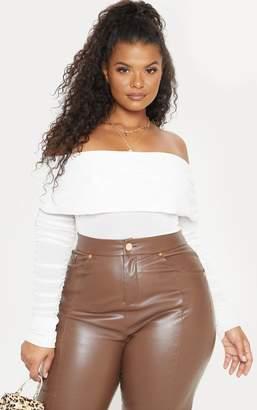 435ca16dd2ba1 PrettyLittleThing Plus White Mesh Bardot Ruched Sleeve Bodysuit