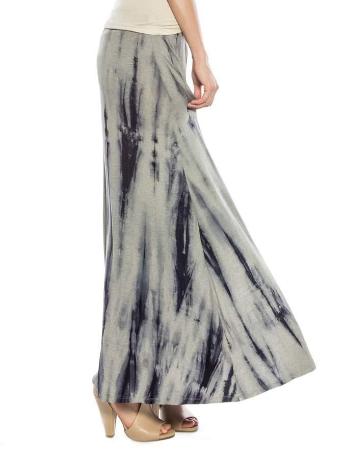 Navy Tie-Dye Double Slit Maxi Skirt - Women