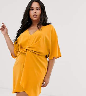 Missguided Plus Plu twist front dress in yellow