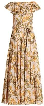 La Doublej - Floral Print Stretch Woven Dress - Womens - Yellow Multi