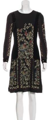 Gucci Velvet-Accented Long Sleeve Dress