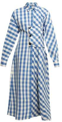 Jil Sander Genziana Gingham Cotton Shirtdress - Womens - Blue White