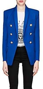 Balmain Women's Wool Long Double-Breasted Blazer - Blue