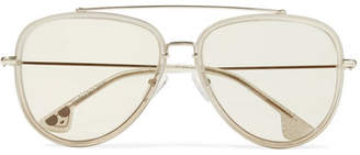 Alice + Olivia Alice Olivia - Lincoln Aviator-style Glittered Acetate And Gold-tone Sunglasses