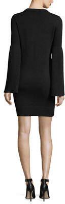 Michael Kors Bell-Sleeve Crewneck Cashmere-Blend Mini Dress