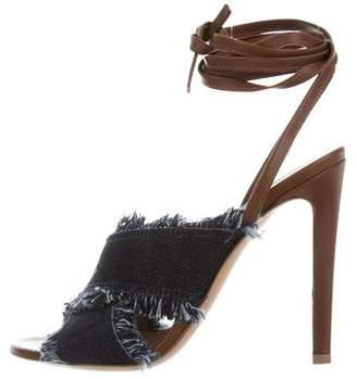 Gianvito Rossi Fringed Denim Sandals