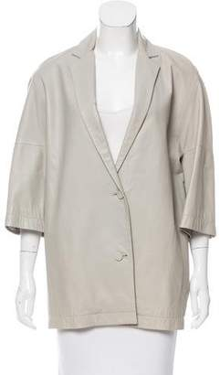 Calvin Klein Collection Leather Notch-Lapel Coat