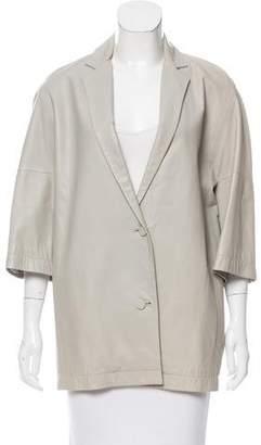 Calvin Klein Collection Leather Notch-Lapel Coat