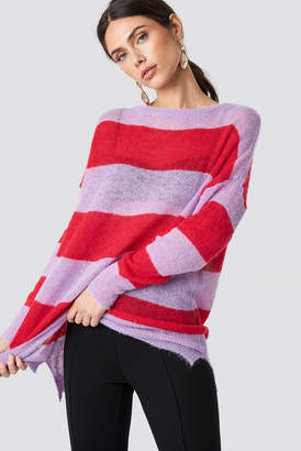 Glamorous Striped Knit Sweater Red Pale Pink