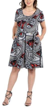 24Seven Comfort Apparel Ellie Black and Red Multicolor Empire Waist Plus Size Mini Dres