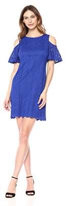 Ronni Nicole Women's Flutter Sleeve Cold Shoulder Medallion lace Shift Dress